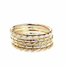 Bangle Bracelets 5 Pieces Set White Braided on Gold Coated Bangles - 5 Bracelets