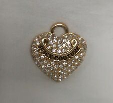 "JUICY COUTURE PUFFED HEART PAVE CRYSTAL PENDANT 1 1/8""(L) x 1 2/8""(H)"