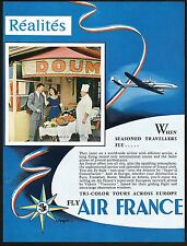 1955 Vintage Air France Airline French Chef Cuisine Restaurant Photo Print Ad