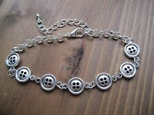 CUTE BUTTONS Bracelet Chain Link Tibetan Silver Charm Sewing Wrist