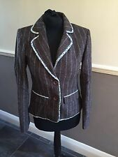 Gorgeous Boden Brown Wool Pinstripe Floral Trim Blazer Jacket UK 8 Worn Twice!