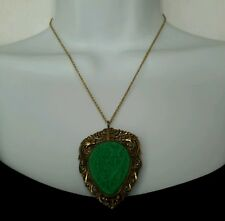 "VTG Green Carved Pheasant Dragon Butterfies Necklace 17.5"" Chain 2 3/8"" Pendant"