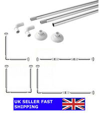 Shower Curtain Rod Rail Chrome - 4 Configurations | L-Shape / U-Shape / Straight