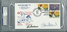 Stan Musial / Lou Boudreau Rockford '79 1st Day Cover Cashe Stamp Auto PSA/DNA