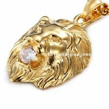 Big Crystal Stainless Steel Mens Yellow Gold Lion Head Biker Pendant Necklace