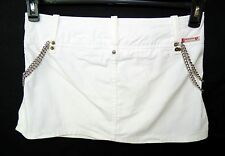 ** GUESS JEANS **  White Denim Mini Punk Rock Chain Goth Crossover Skirt Size 29