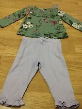 Brand New Baby Girls Size 9-12 Months - Green Top & Lilac Jersey Pants