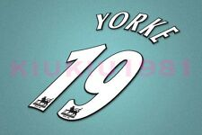 Manchester United Yorke #19 PREMIER LEAGUE 97-06 White Name/Number Set