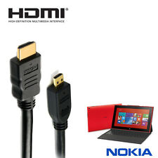 NOKIA LUMIA 2520 tablet HDMI-D MICRO HDMI TV MONITOR 5M Lungo Oro Cord Cable