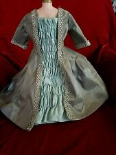 "ANTIQUE Repro French dress w train charcoal grey blue 18-20"" fashion lady doll"