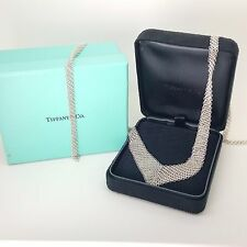 Tiffany & Co Sterling Silver Elsa Peretti Mesh Bib 26' Inch Necklace Black Box