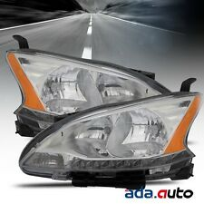 For 2013-2015 Nissan Sentra Chrome Headlights Replacement Lamps Pair