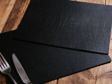 Set of 6 CLASSIC Black Leatherboard PLACEMATS, Made In UK