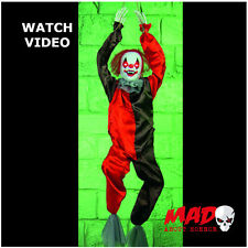 Animated Killer Clown Hanging Prop - SCARY Halloween Decoration MOVING+SOUND