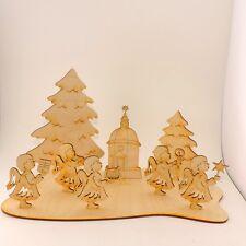 Weihnachtsplatte mit Engeln 9 Teile Holz Tischdekoration Advent Weihnachten
