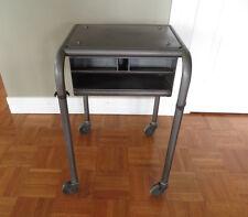Vintage Metal Industrial Rolling Cart Tool Typewriter Storage Side Table
