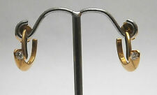 Diamond Earrings 18ct Yellow Gold Solitaire Brilliant Cut French Designer Garel
