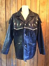 vtg MICHAEL HOBAN leather TASSEL fringe BIKER jacket 42 chest ROCKSTAR navajo