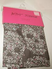 Betsey Johnson Skull Candy Shower Curtain 72x72 Floral Gray Pink Blue White