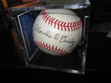 Charlie O Finley Autographed Official MLB Baseball Oakland A's Owner PSA 9