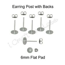12 (6 Pairs) Surgical Stainless Steel Earring Posts / Backs - 6 mm Flat/Glue Pad