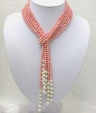 Beautiful Natural 3 Rows 50 inch 4mm Pink Coral Freshwater Pearl Necklace