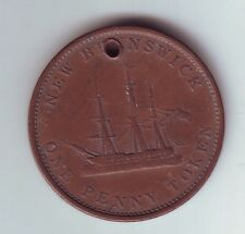 1843 One 1 Penny Token New Brunswick Canada H-1027