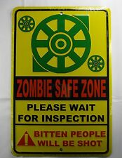 ZOMBIE SAFE ZONE METAL PARKING SIGN BITTEN PEOPLE WILL BE SHOT  NEW L917
