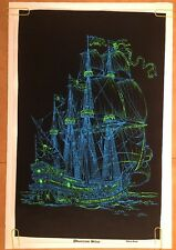 Phantom Ship Vintage Blacklight Poster Velvet Flocked 1970's Pin-up Boat Vessel