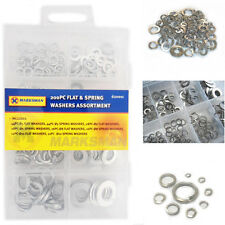 165 Washers Assortment DIY Tool Rust Reistant Flat & Spring Store Case Metal Set