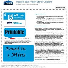 Three (3x) Lowes $15 OFF $50 Printable-Coupons Exp 10/25/16 Fast Email Delivery