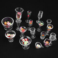 17pcs/Set Dollhouse Mini Transparent Plastic Cups Dish Plate Tableware
