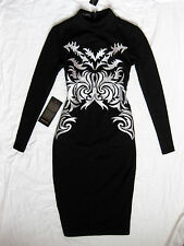 BEBE BLACK MOCK NECK EMBROIDERED MIDI DRESS NWT NEW $139 XXSMALL XXS