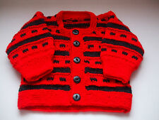 STUNNING RED AND GREY HAND KNITTED BABY CARDIGAN - UNISEX - FOR 3 - 6 MONTH BABY