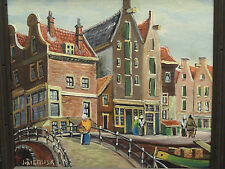 "NOTABLE PAINTING BY DUTCH LISTED ARTIST J. VAN RIEMSDYK ""DUTCH TOWN CANAL SCENE"