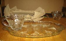 ANCHOR HOCKING 8 PIECE SNACK SET VINTAGE 4 TRAYS 4 CUPS GRAPES LEAVES