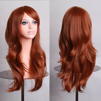 Women's Sexy Long Curly Wavy Hair Wigs Cosplay Fluffy Ladies Full Wigs Brown