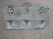Vintage Used Galvanized ?? Metal Large Tool Box good for Industrial decor