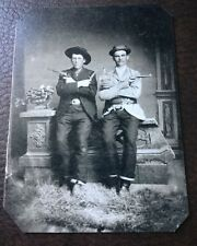 2 Cowboys Old West With Guns & Knives tintype C114RP