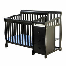 Dream On Me Jayden 4-in-1 Mini Convertible Crib and Changer in Black