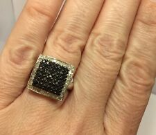 New Sterling Silver 1 Ct Black Diamond Pave Wedding 925  Ring 7