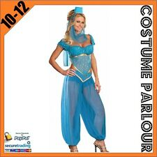 Womens Sexy Genie Jasmine Aladdin Ladies Fancy Dress Costume Size 10 - 12
