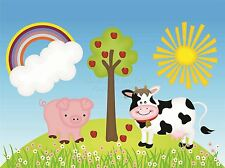 Impresión Cartel Pintura Dibujo Niños Niños Animales De Granja Sol Rainbow lfmp0589