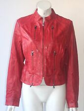 Bod Christensen Red Leather Motorcycle Jacket Size XL