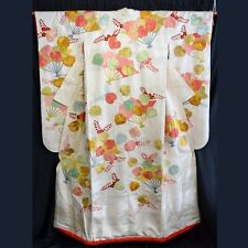 """Festive Fans"" Vintage Japanese Woman's Wedding Kimono Uchikake Bridal Dress"