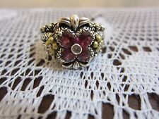 BARBARA BIXBY FLOWER GARNET TOPAZ RING STERLING & 18K GOLD NEW SIZE 8 PRETTY
