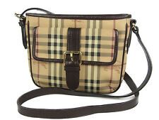 Auth BURBERRY Nova Check Plaid Pattern PVC Shoulder Bag Beige F/S 9661eRN