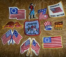 11pc Set Vintage 1976 Bicentennial Patriotic Patches Flags Hats More! NOS NICE