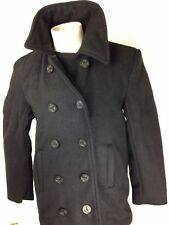 Mens Wool US Navy Type Peacoat Reefer Coat Black Mariner Jacket by Rothco Size L