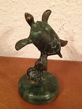 Unknown Age Likely Contemporary Cute Patinated Bronze Sea Turtle Sculpture